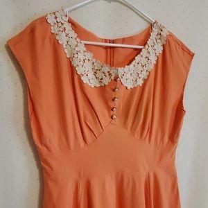 Miusol | Peach Retro Inspired Midi Dress